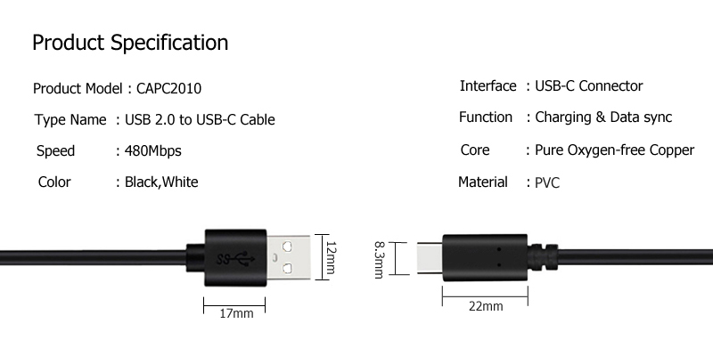 USB C to USB A Cable CAPC2010 SPECIFICATION