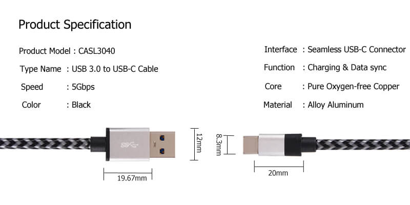 USB C to USB A Cable CASL3040