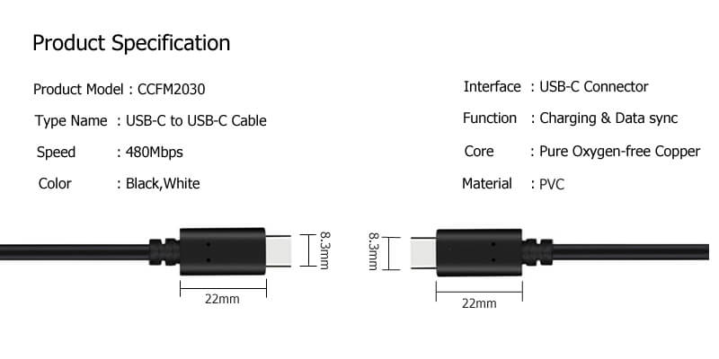 USB C to USB C Cable CCFM2030