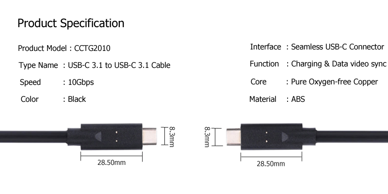 USB C to USB C Cable CCTG2010 SPECIFICATION