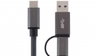 USB C to USB C USB A Cable Gray 3