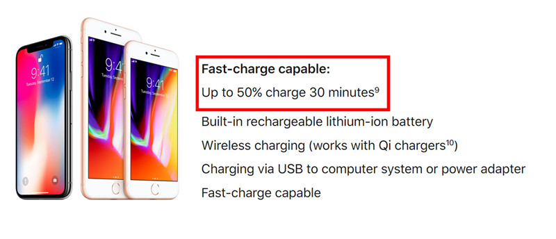 iphone 8 fast charge spec