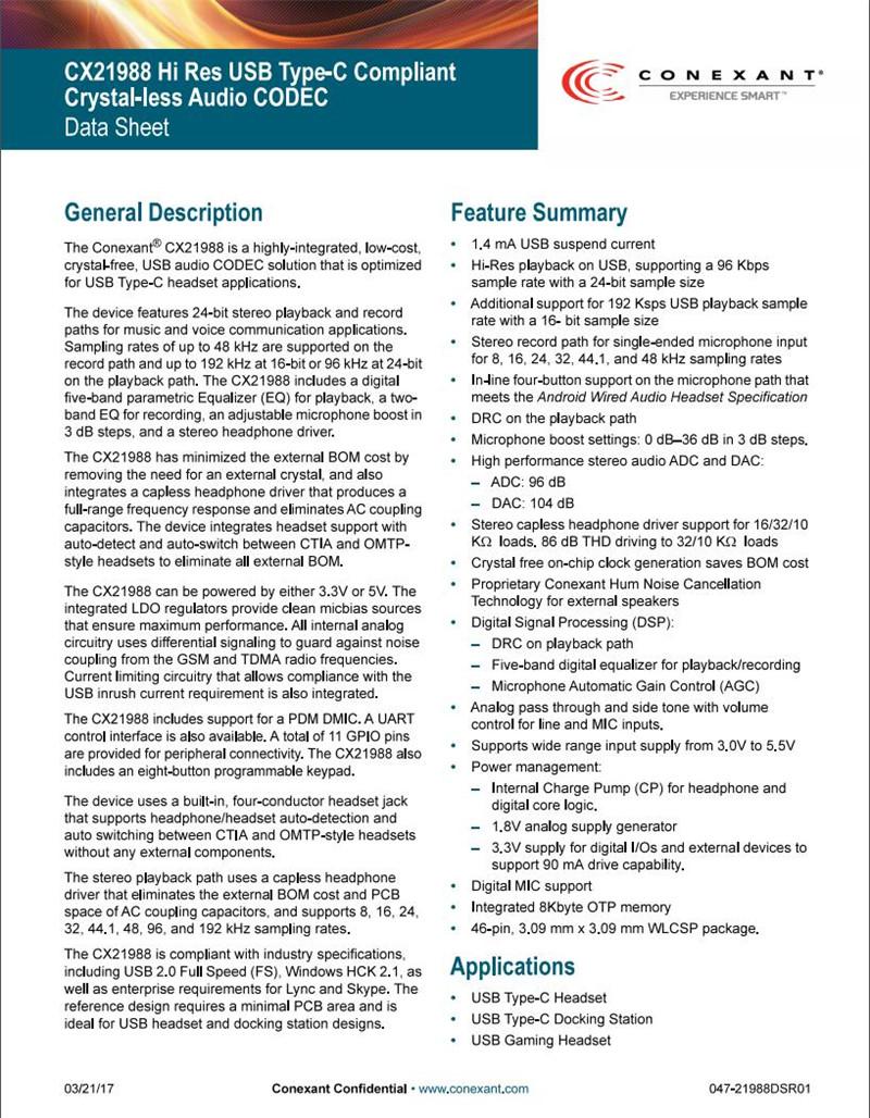 Conexant CX21988 Data Sheet