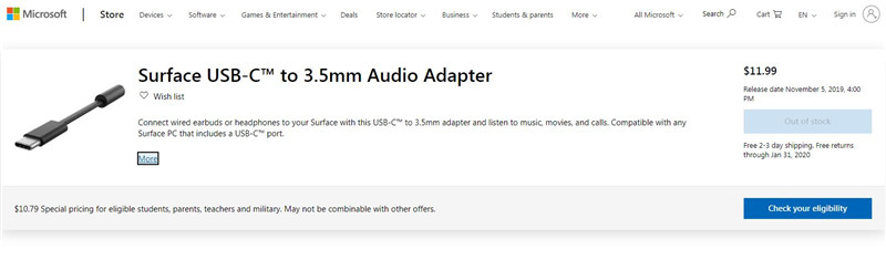 Surface USBC TO 3.5MM AUDIO ADAPTER
